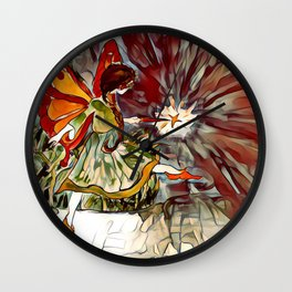 Red and Orange Fairy Girl watercolor by CheyAnne Sexton Wall Clock