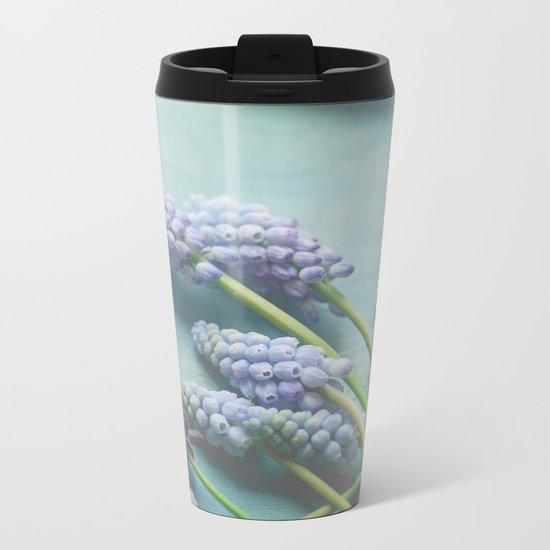 Blue Flowers Metal Travel Mug
