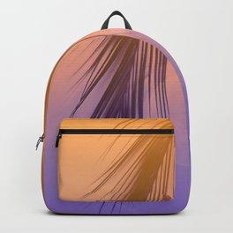 Palm Leaf Silhouette Orange Violet Background #decor #society6 #buyart Backpack