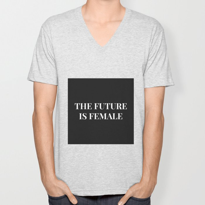The future is female black-white Unisex V-Neck