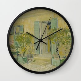 Exterior of a Restaurant in Asnières Wall Clock