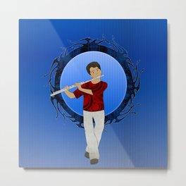 Flute Player Metal Print