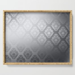 """Neutral gray Damask Pattern"" Serving Tray"