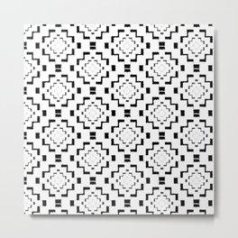Rough Geometric Aztec Print - Black Metal Print