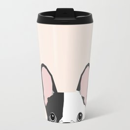 French Bulldog peeking cute black and white frenchie must have dog mom pet lover gifts Travel Mug