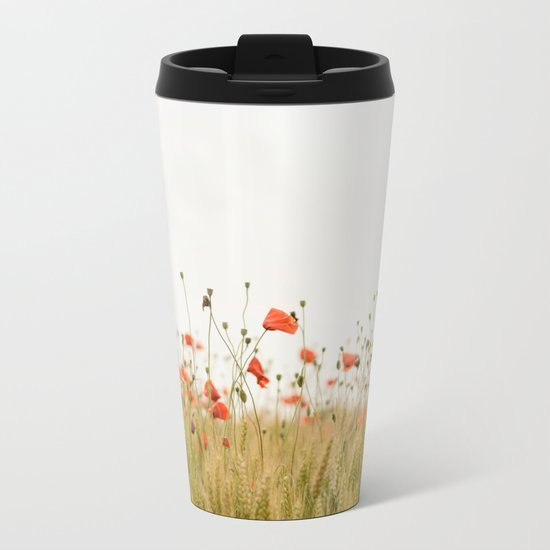 Poppies Coquelicots Metal Travel Mug