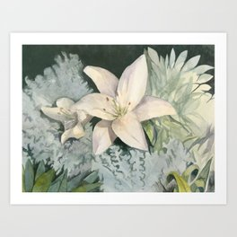 Lilies in the Moonlight Art Print