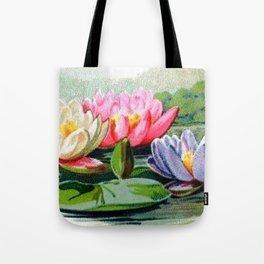 Vintage Lily Pad Floral Pond Lilies Tote Bag