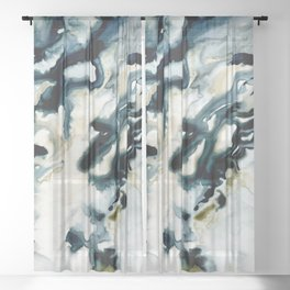 Blue Abstract Sheer Curtain