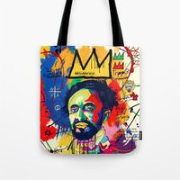 basquiat Tote Bags featuring Selassie Basquiat by qlion