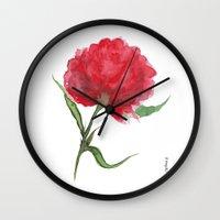 peony Wall Clocks featuring Peony by Gosia&Helena