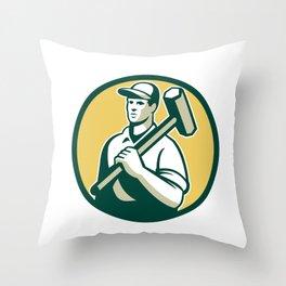 Demolition Worker Sledgehammer Circle Retro Throw Pillow