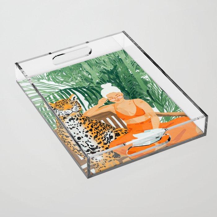 Jungle Vacay #painting #illustration Acrylic Tray