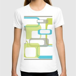 Mid-Century Modern Rectangle Design Blue Green and Gray T-shirt