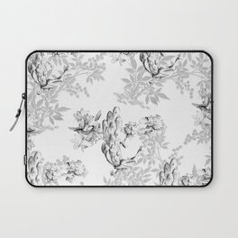 PEACOCK LILY TREE AND LEAF TOILE GRAY AND WHITE PATTERN Laptop Sleeve