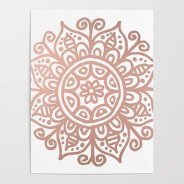 Rose Gold Floral Mandala Poster