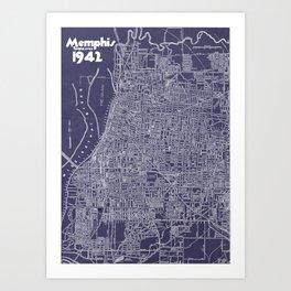Memphis 1942 in Blue Art Print