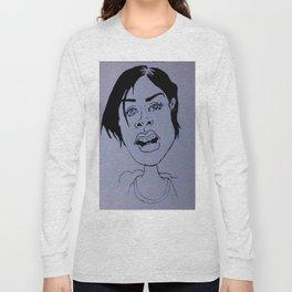 Drawing a beautiful girl Long Sleeve T-shirt