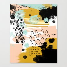 Ames - Abstract painting in free style with modern colors navy gold blush white mint Canvas Print