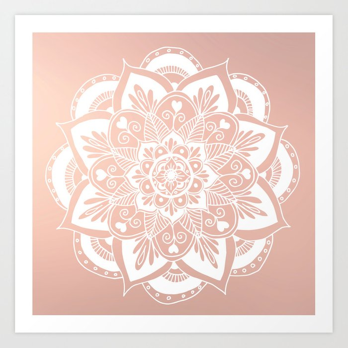 Flower Mandala On Rose Gold Art Print By Julieerindesigns Society6
