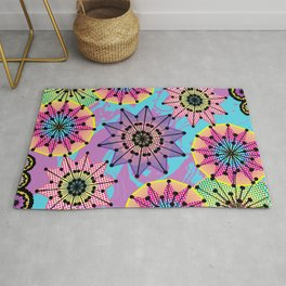 Vibrant Abstract Floral Pattern Rug