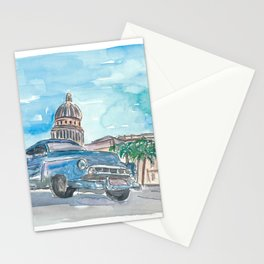 Havana Cuba Oldtimer passing Capitol on Paseo de Marti Stationery Cards