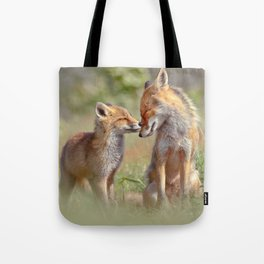 Fox Felicity - Mother and fox kit showing love and affection Tote Bag