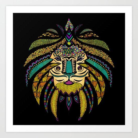 Tribal Lion on Black Art Print
