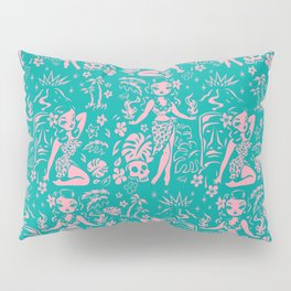 Tiki Temptress in Pink and Turquoise Pillow Sham