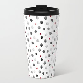 Watercolor dots and hearts in gray and red pattern Travel Mug