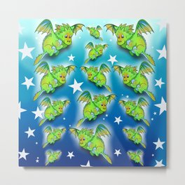 Green cartoon flying dragon pattern Metal Print