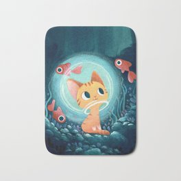 Ginger cat and fishes Bath Mat