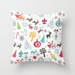 Retro Santa Holiday Christmas Pattern Throw Pillow