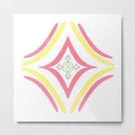 Four Square - Pink, Yellow Metal Print
