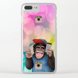 Selfi monkey iPhone 4 4s 5 5c 6 7, pillow case, mugs and tshirt Clear iPhone Case