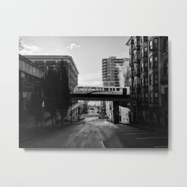 Morning Train BW Metal Print
