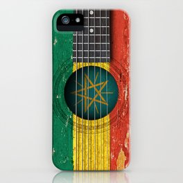 Old Vintage Acoustic Guitar with Ethiopian Flag iPhone Case