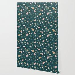 Dark Green Terrazzo Wallpaper