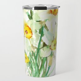 Daffodil Flowers, White spring flowers, Green yellow spring colored design Travel Mug