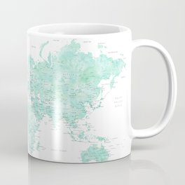 "Light mint watercolor world map, detailed, ""Desie"" Coffee Mug"