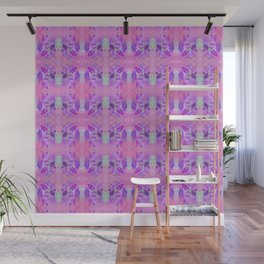 Boho Feather Zig Zag Collage | Watercolor Feather Art Print | Pink Purple Wall Mural