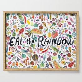 EAT THE RAINBOW Colorful Watercolor Veggies Fruits Serving Tray