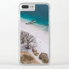 Hot white sand beach Clear iPhone Case