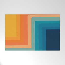 Retro 70s Color Lines Welcome Mat