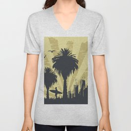 Sunny beach with palm surfer in Hawaii Unisex V-Neck