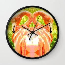 Flamingo illustration versus illustrated flamingo Wall Clock