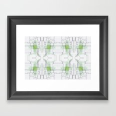 Circuit board green repeat Framed Art Print
