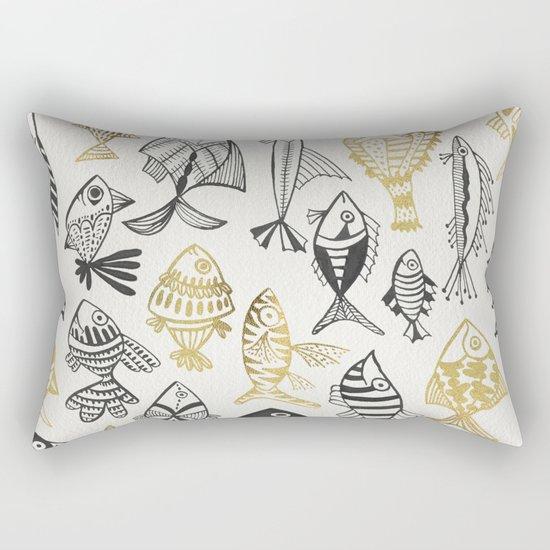 Inked Fish – Black & Gold Rectangular Pillow