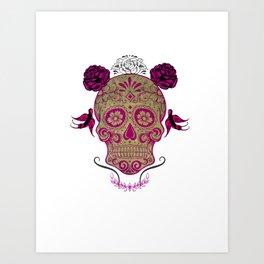 Sugar Skull Green and Pink Art Print