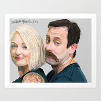 roosterteeth Art Prints featuring Geoff and Griffon Ramsey by CharlotteJR